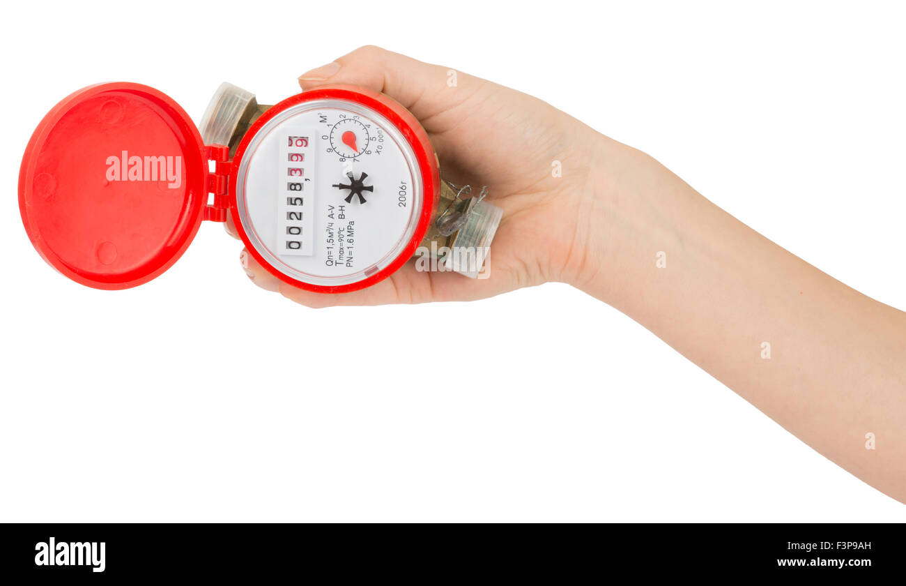 Humans hand holding water meter - Stock Image