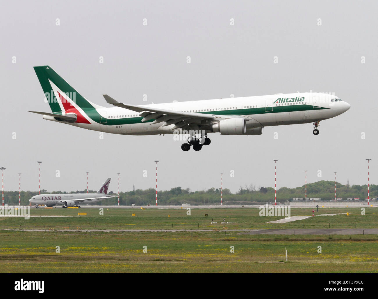 Alitalia, Airbus A330-202. Photographed at Linate airport, Milan, Italy - Stock Image