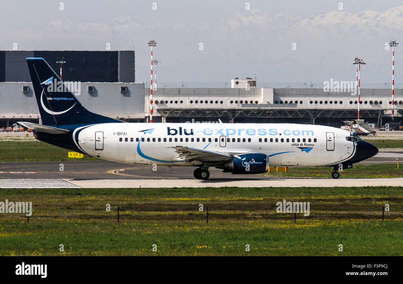 Blu-Express Boeing 737-31S. Photographed at Linate airport, Milan, Italy - Stock Image
