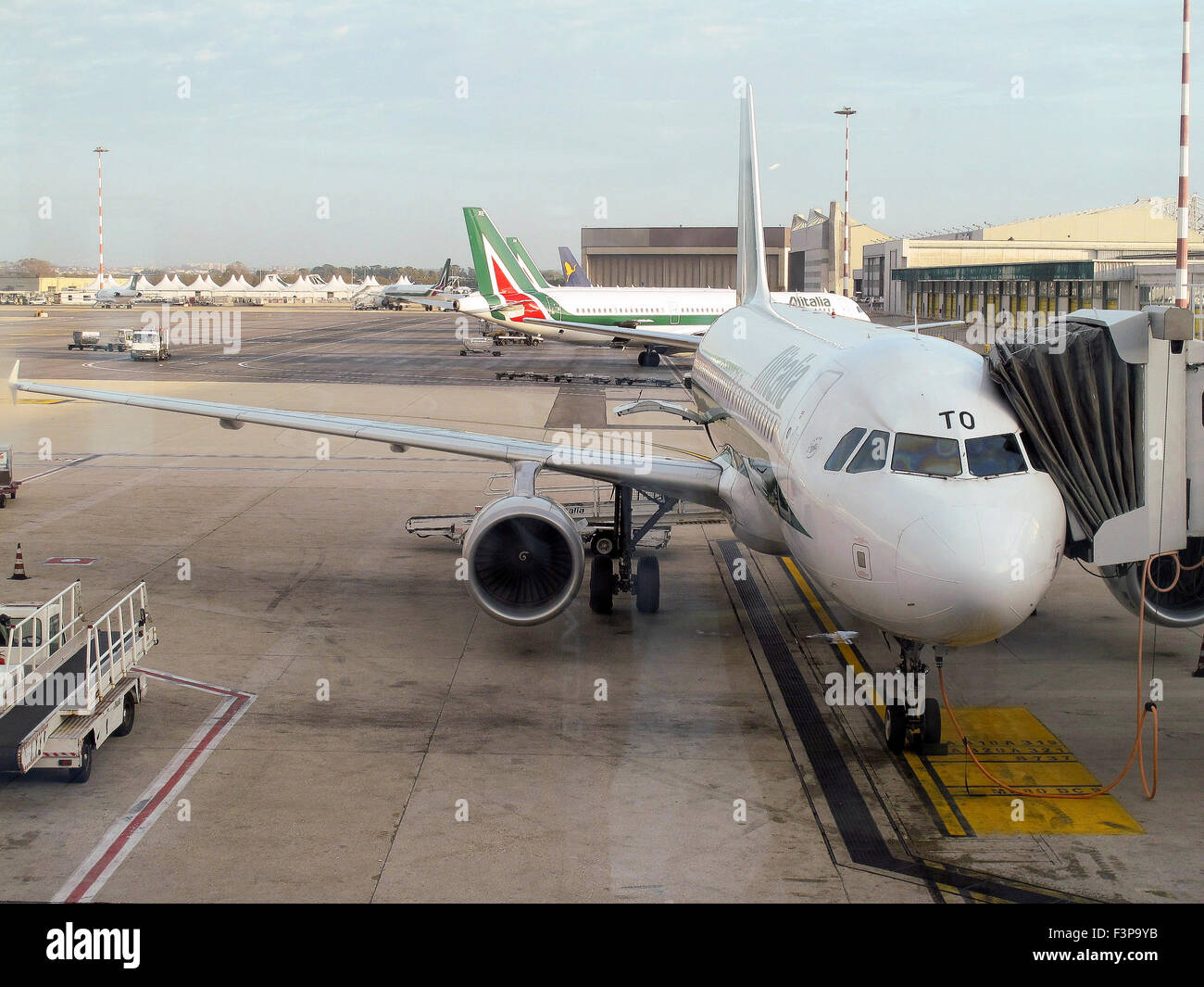 Alitalia, Passenger plane on the ground at at Linate airport, Milan, Italy - Stock Image