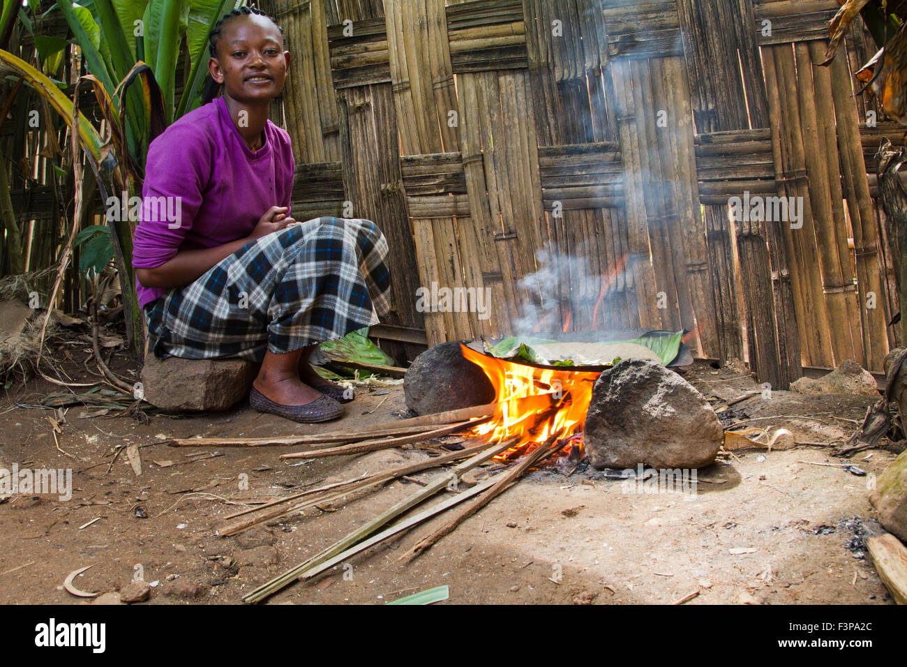 Africa, Ethiopia, Omo region, Chencha, Dorze village. Woman prepares bread from the shaving a leaf of the fruitless - Stock Image