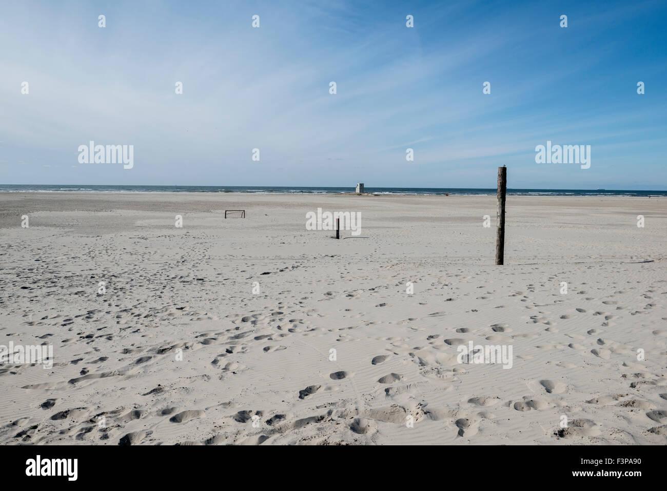 2 July 2014  The beach is very wide at The Zandzee Bar at paal 11 at the Noordzee Beach.  De Zandzeebar bij Paal 11 op het Noord Stock Photo