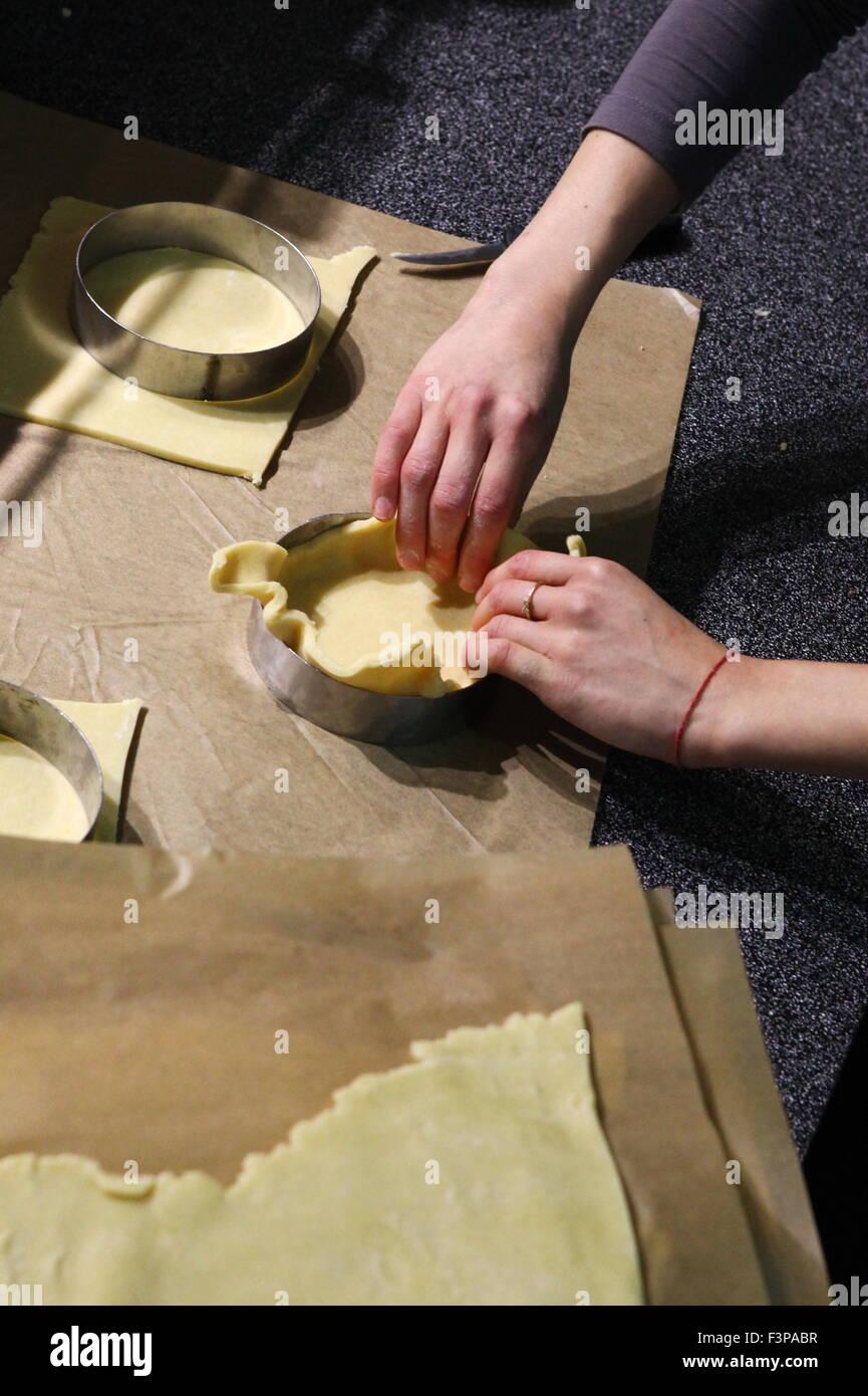 Making Savoury pie quiche - Stock Image
