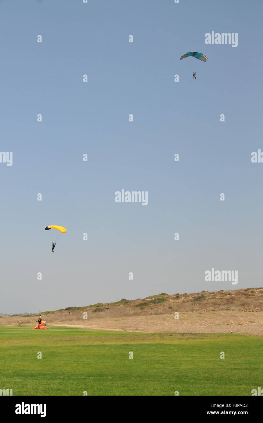 Paragliding during the jump - Stock Image