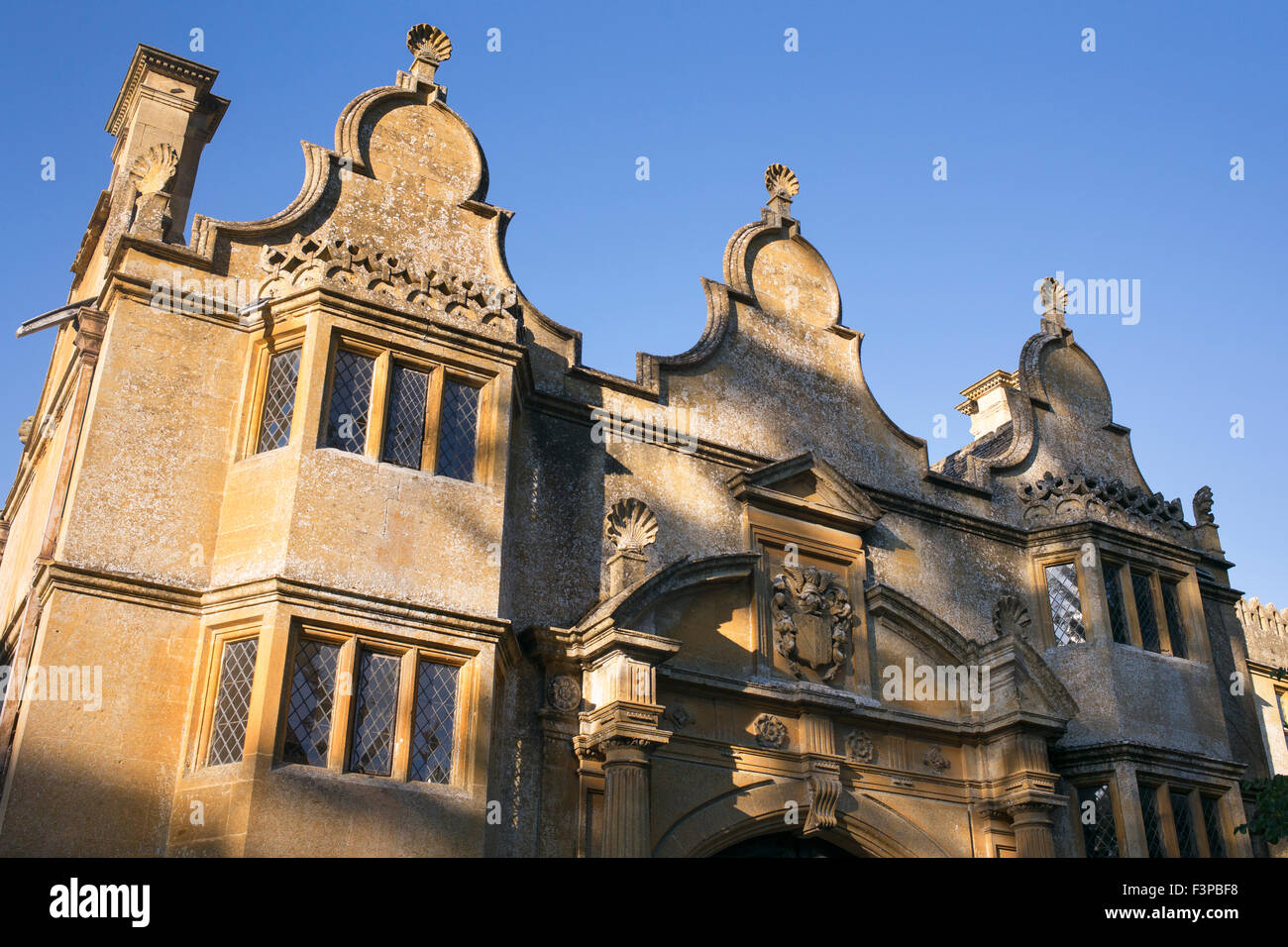 Stanway house gatehouse. Cotswolds, Gloucestershire, England Stock Photo