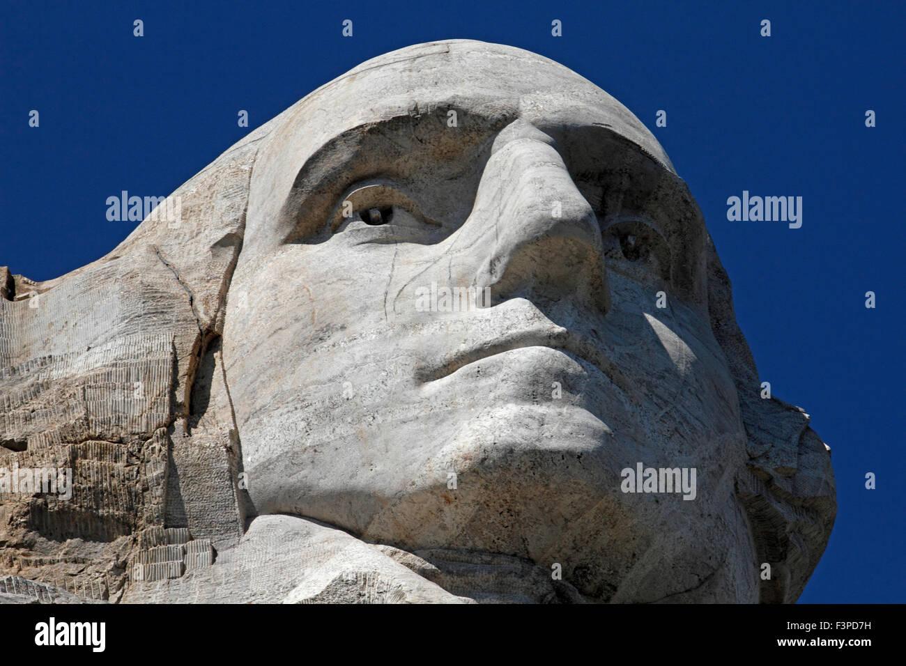Closeup of George Washington on Mount Rushmore - Stock Image
