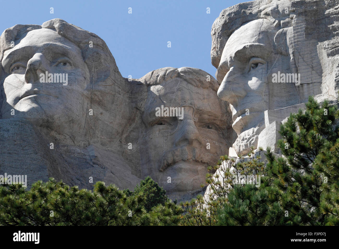 Presidents Jefferson, Roosevelt and Lincoln on Mount Rushmore National Monument in South Dakota - Stock Image