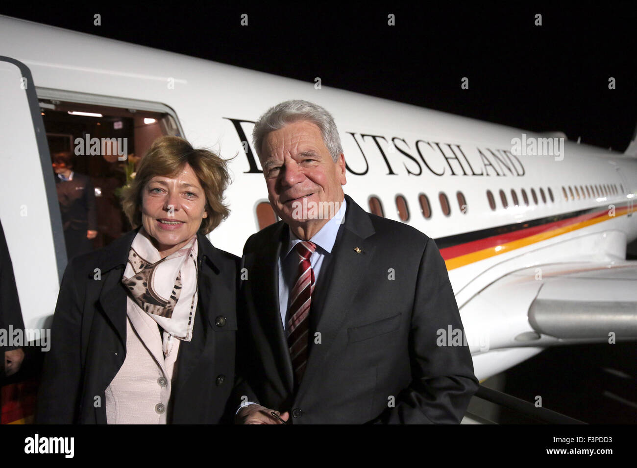 German President Joachim Gauck and his partner Daniela Schadt ready to depart for South Korea and Mongolia at Berlin - Stock Image