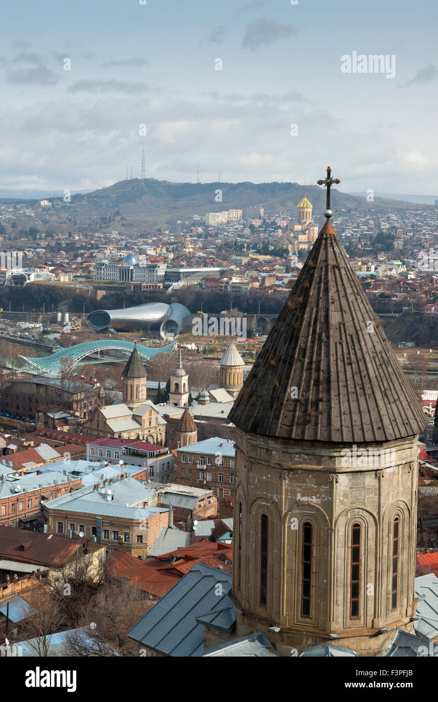 Aerial view on the center of Tbilisi, capital of Georgia Stock Photo
