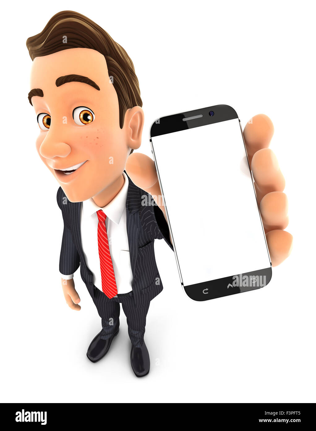 3d businessman holding smartphone in hand, isolated white background Stock Photo