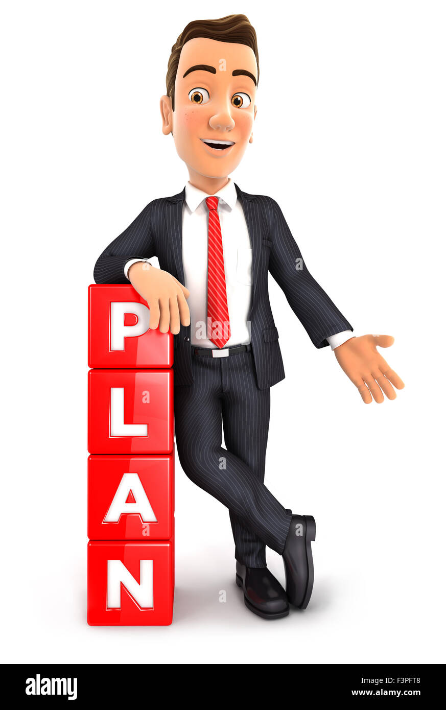 3d businessman leaning against dices with the word plan, isolated white background Stock Photo