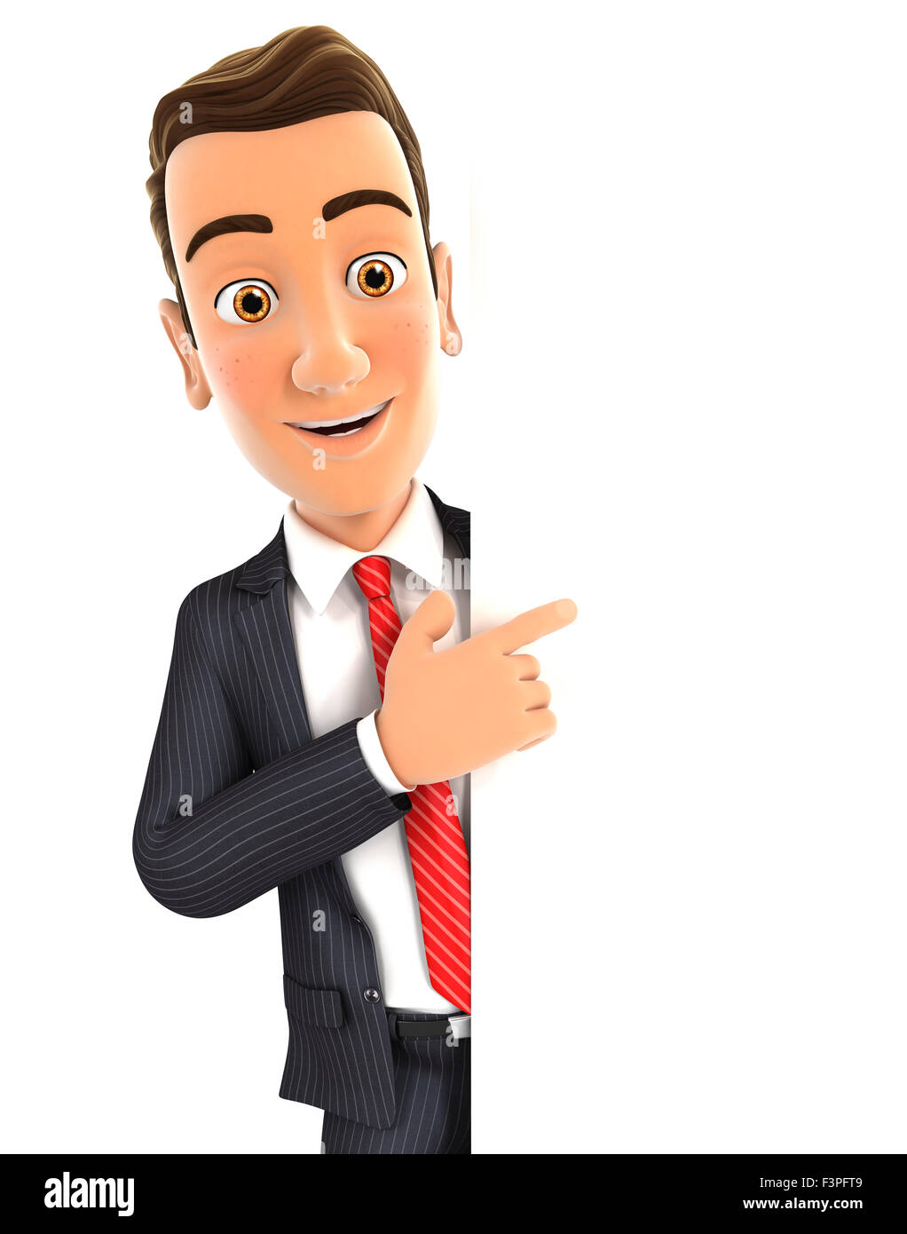 3d businessman pointing to right blank wall, isolated white background Stock Photo