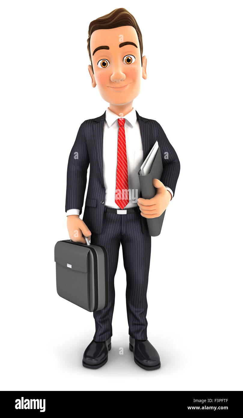 3d businessman with a briefcase and files, isolated white background Stock Photo