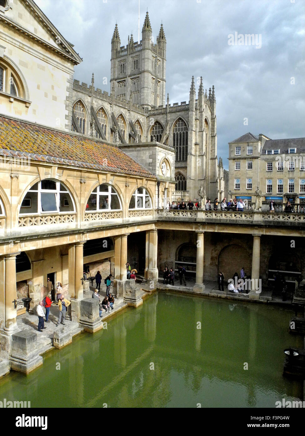 The Roman Baths in Bath are a major tourist attraction. - Stock Image