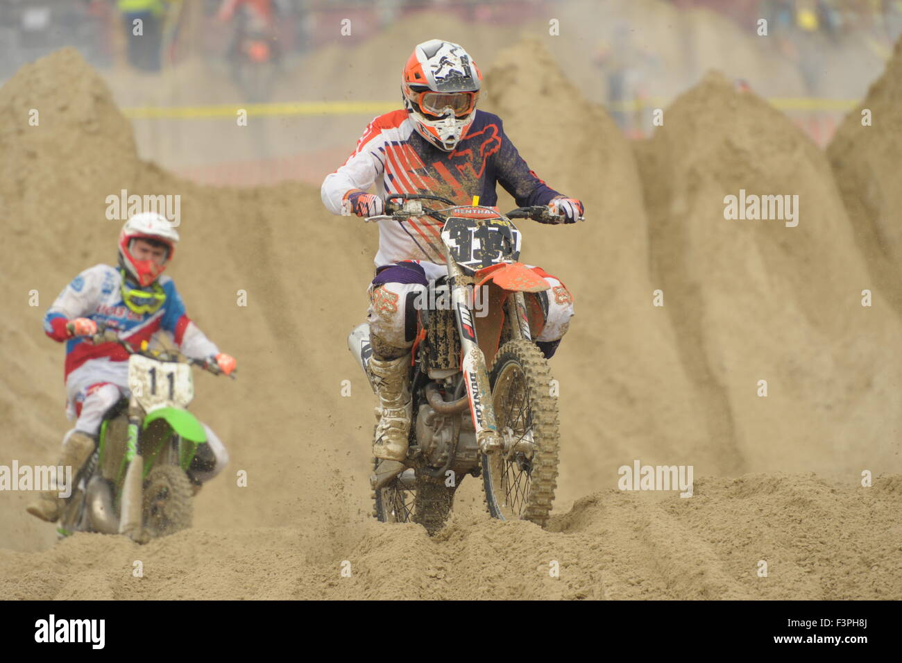 Weymouth, Dorset, UK - 11th October 2015. Annual Lion's Beach motocross weekend on Weymouth Beach.  Weymouth - Stock Image