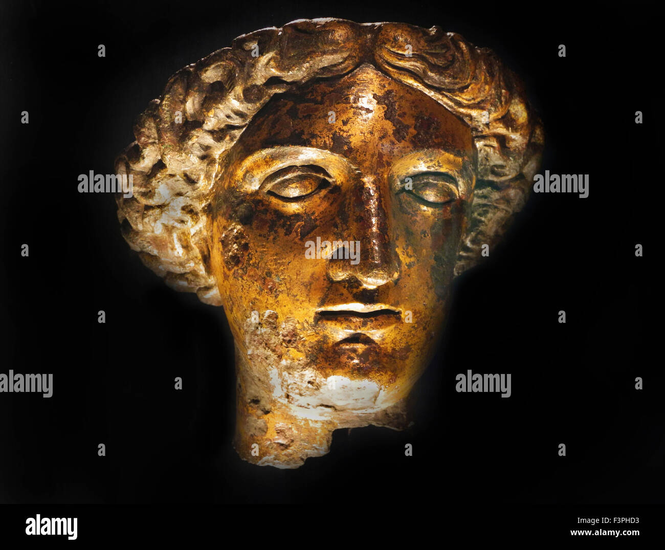 Head of Roman Goddess Sulis Minerva from the Temple Courtyard of the Roman Baths at Bath in the UK. - Stock Image