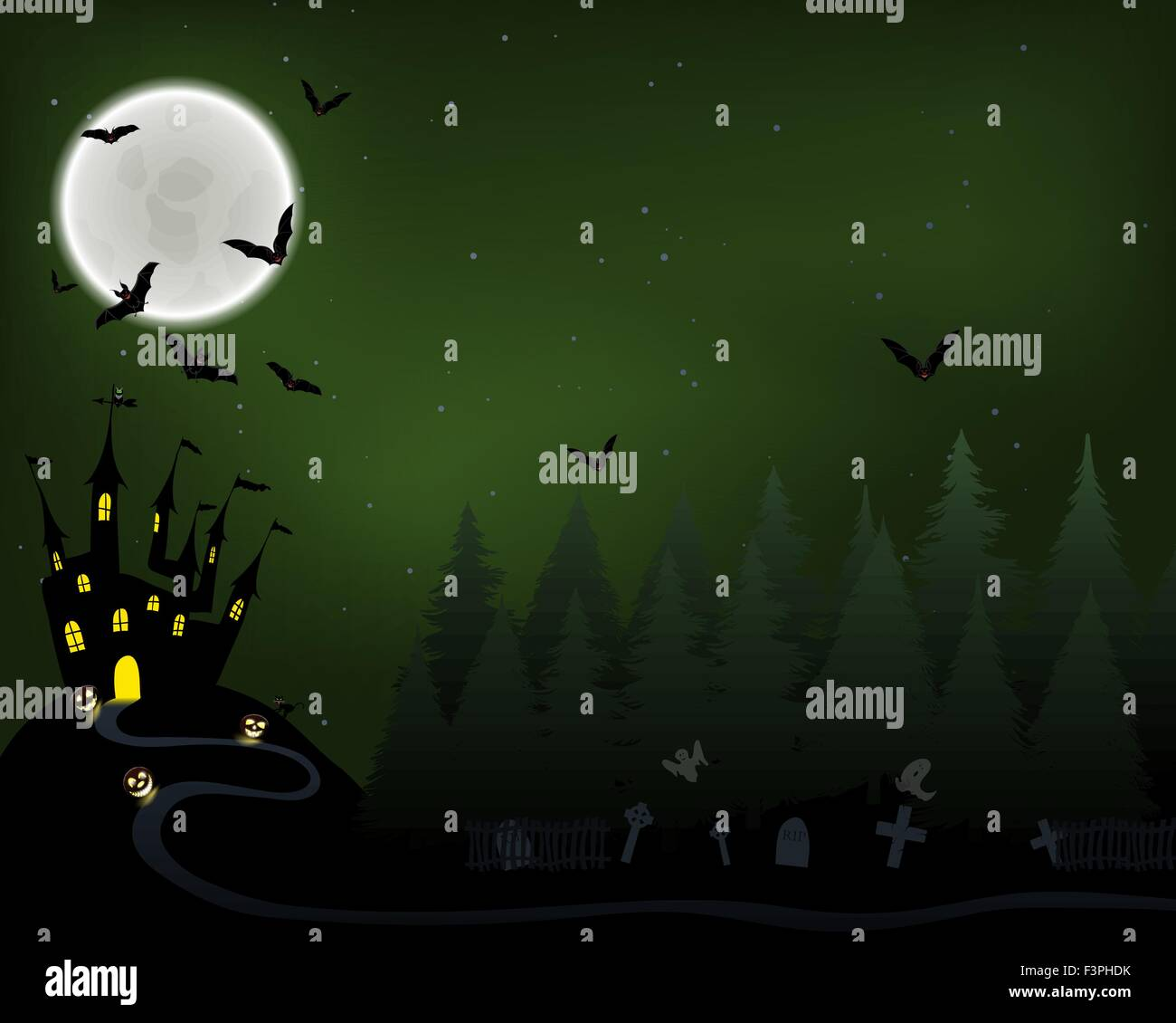 Drawing ghost greeting symbol happy invitation owl vector vectors halloween greeting invitation card elegant design with castle in fir forest flying stopboris Image collections