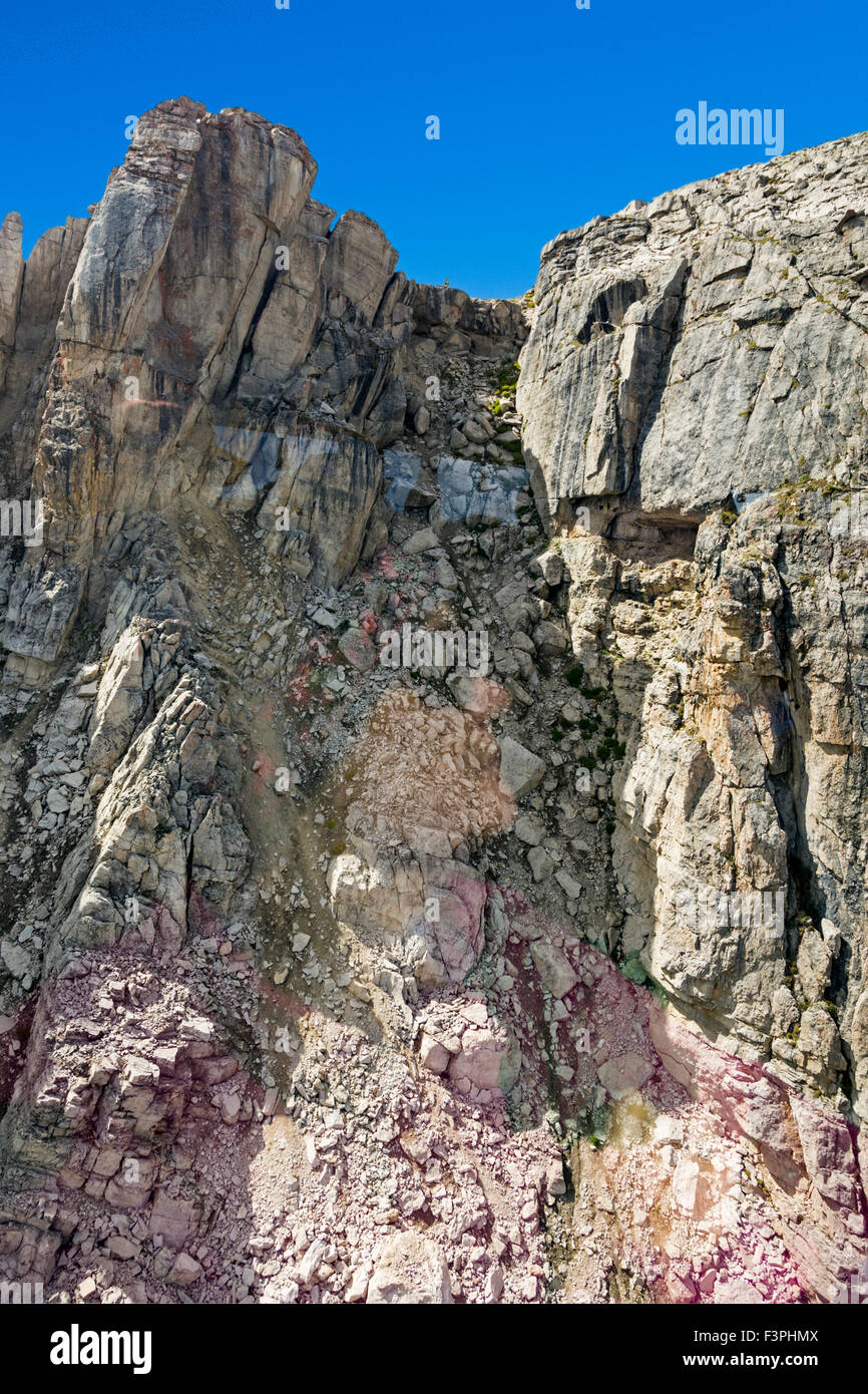 Summer view from aerial tram of famous ski run; Corbet's Couloir; at the top of Jackson Hole Mountain Resort; Wyoming; Stock Photo