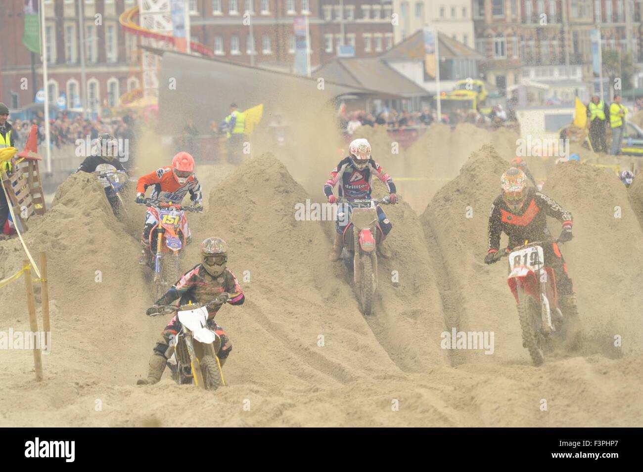 Weymouth, Dorset, UK - 11th October 2015. Annual Lion's Beach motocross weekend on Weymouth Beach.  Weymouth - Stock Image
