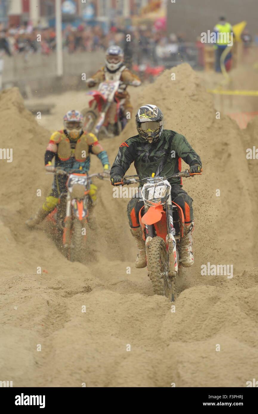 Weymouth, Dorset, UK - 11th October 2015. Annual Lion's Beach motocross weekend on Weymouth Beach.  Weymouth & Portland Stock Photo