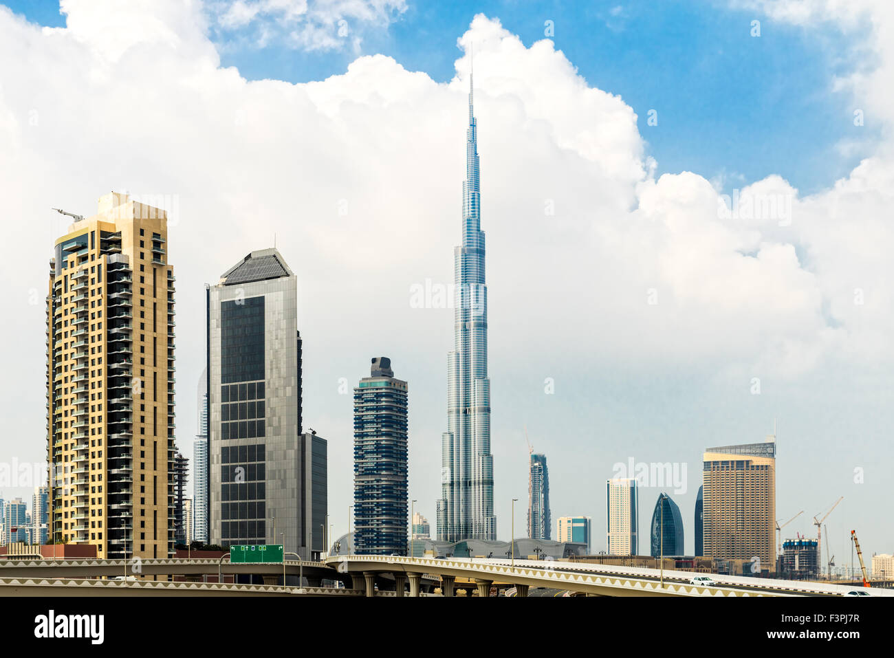 Dubai skyline at dusk, UAE. - Stock Image