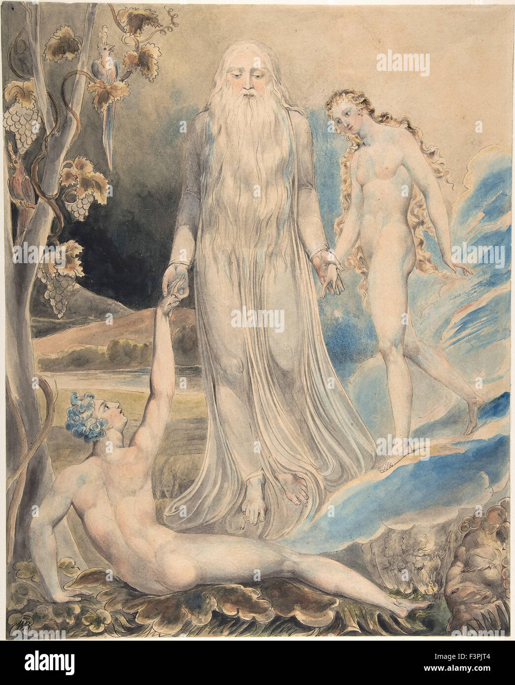 William BLake - Angel of the Divine Presence Bringing Eve to Adam (The Creation of Eve; 'And She Shall be Called - Stock Image