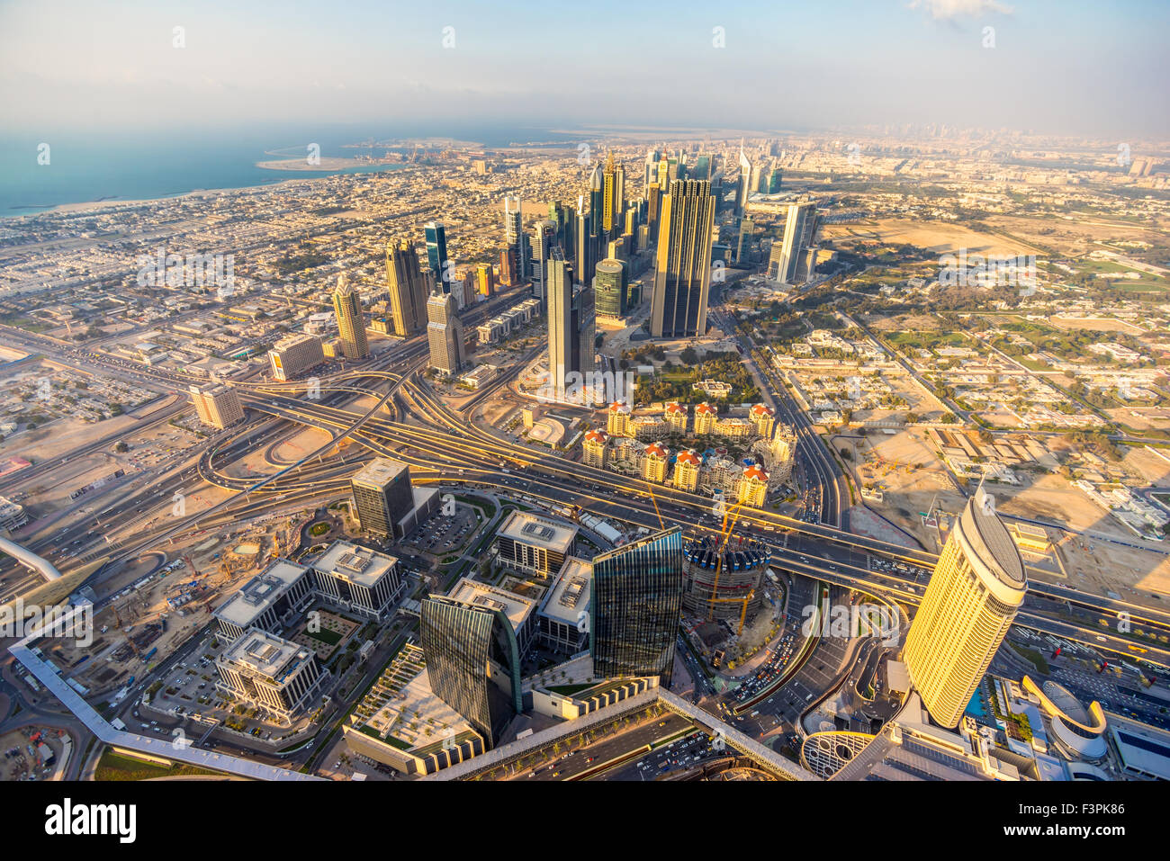 Dubai skyline at dusk, UAE. - Stock Image