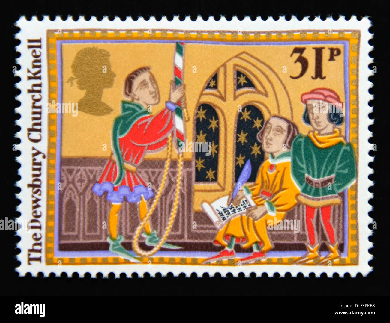 Postage stamp. Great Britain. Queen Elizabeth II. 1986.Christmas. Folk Customs. 31p. - Stock Image