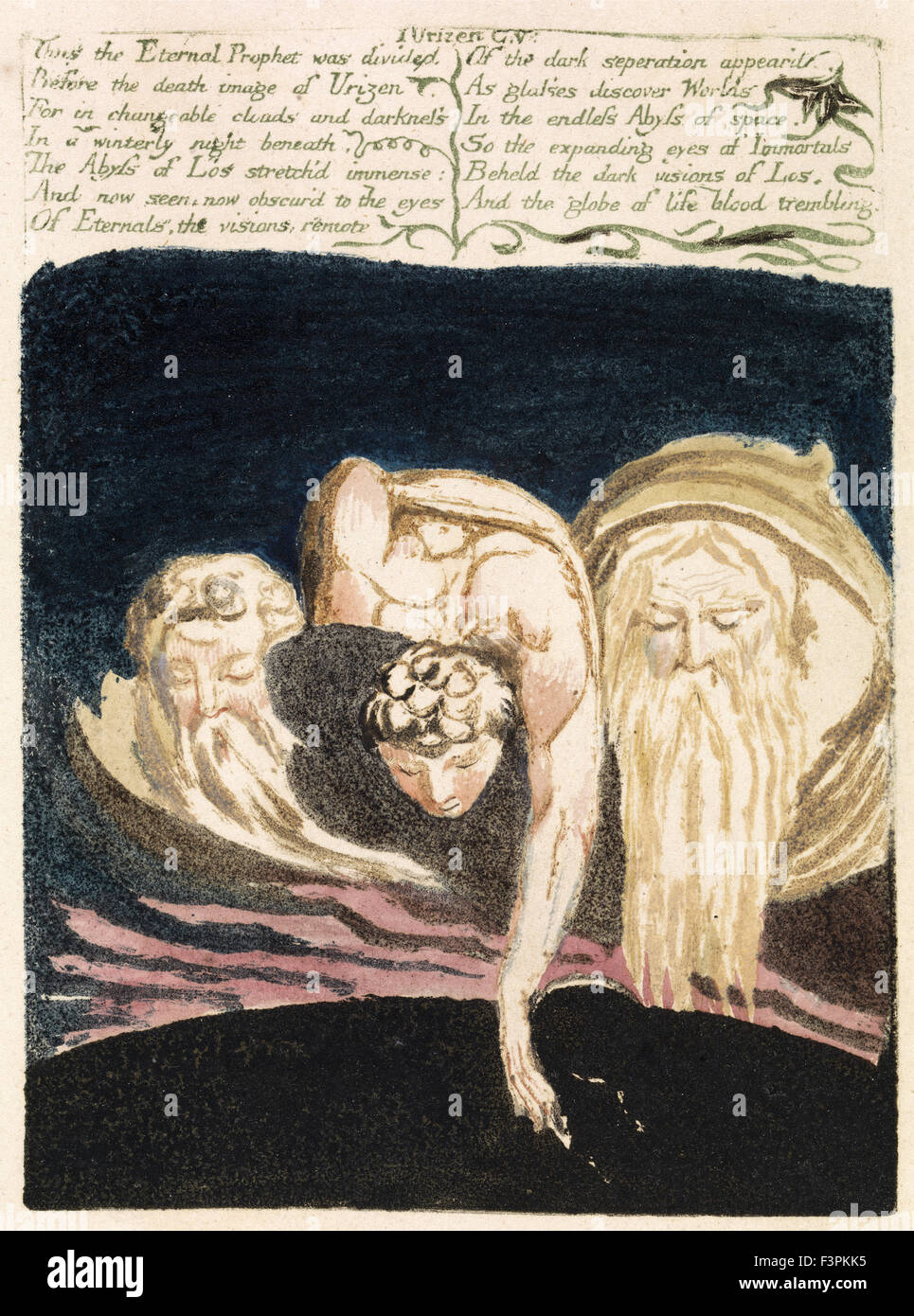 William BLake - The First Book of Urizen, Plate 13 - Thus the Eternal Prophet was divided - Stock Image