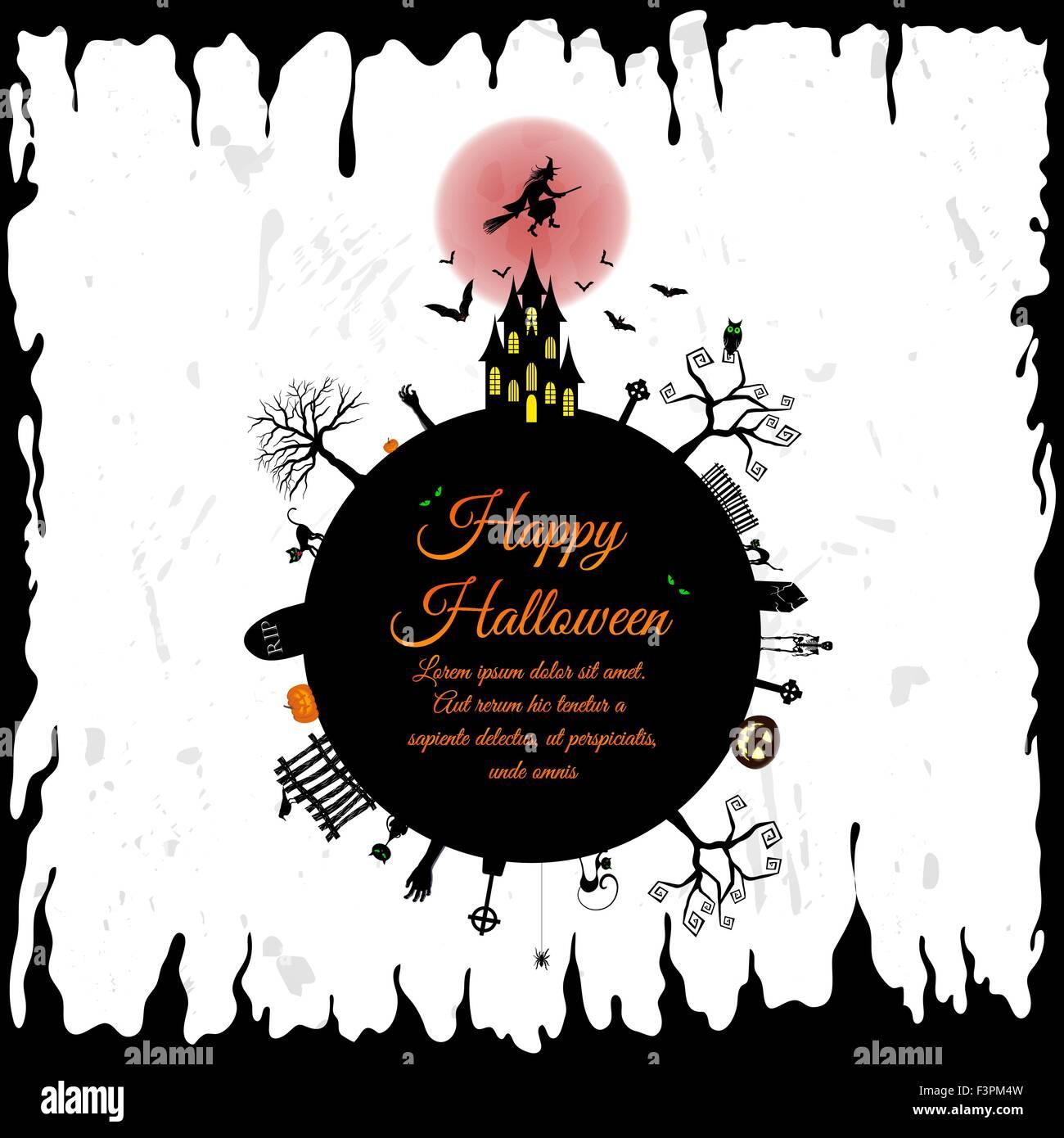 Drawing ghost greeting symbol happy invitation owl vector vectors elegant design with castle bats owl grave stopboris Choice Image