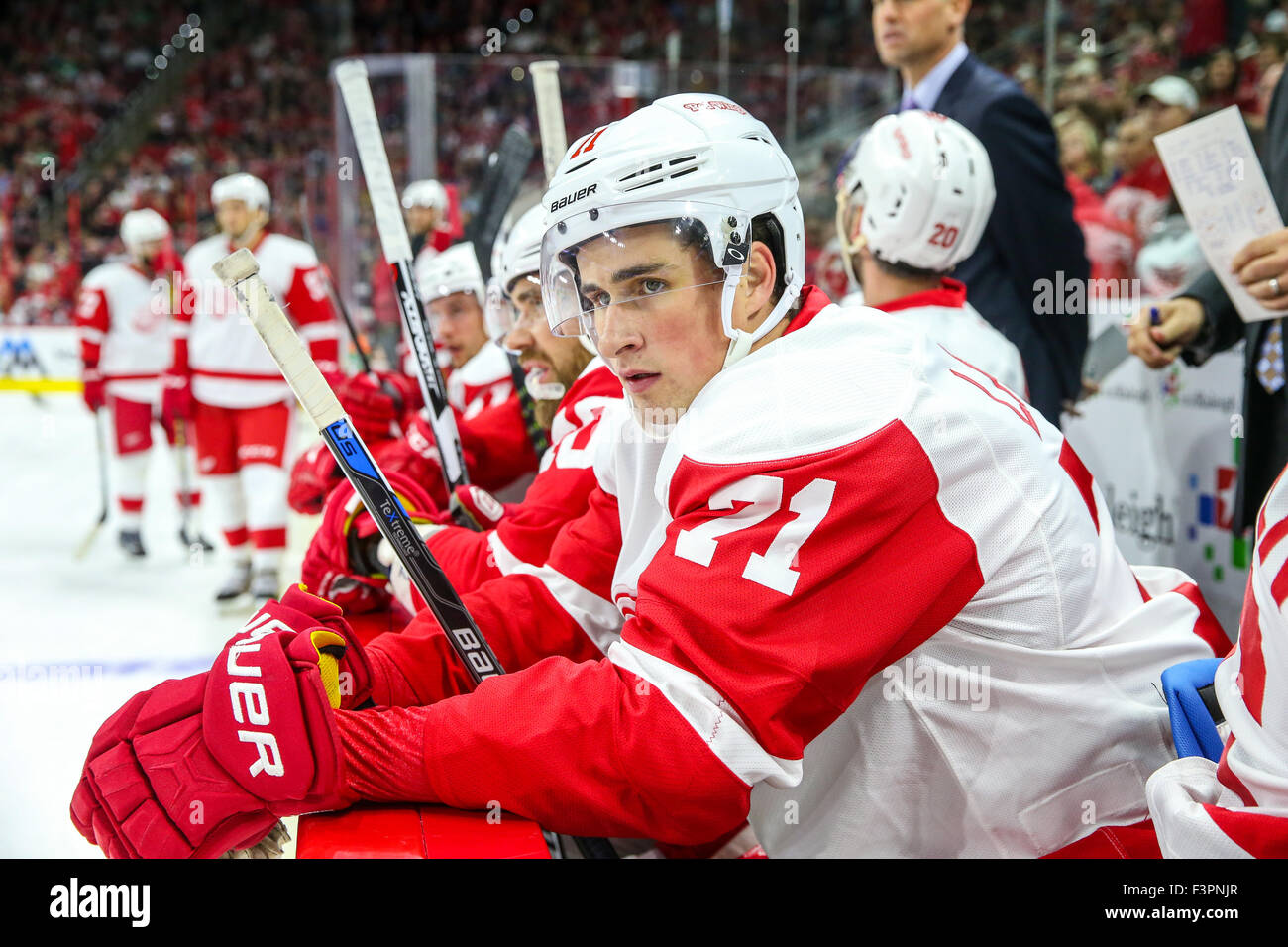 2689457ce16 Detroit Red Wings center Dylan Larkin (71) during the NHL game Stock ...