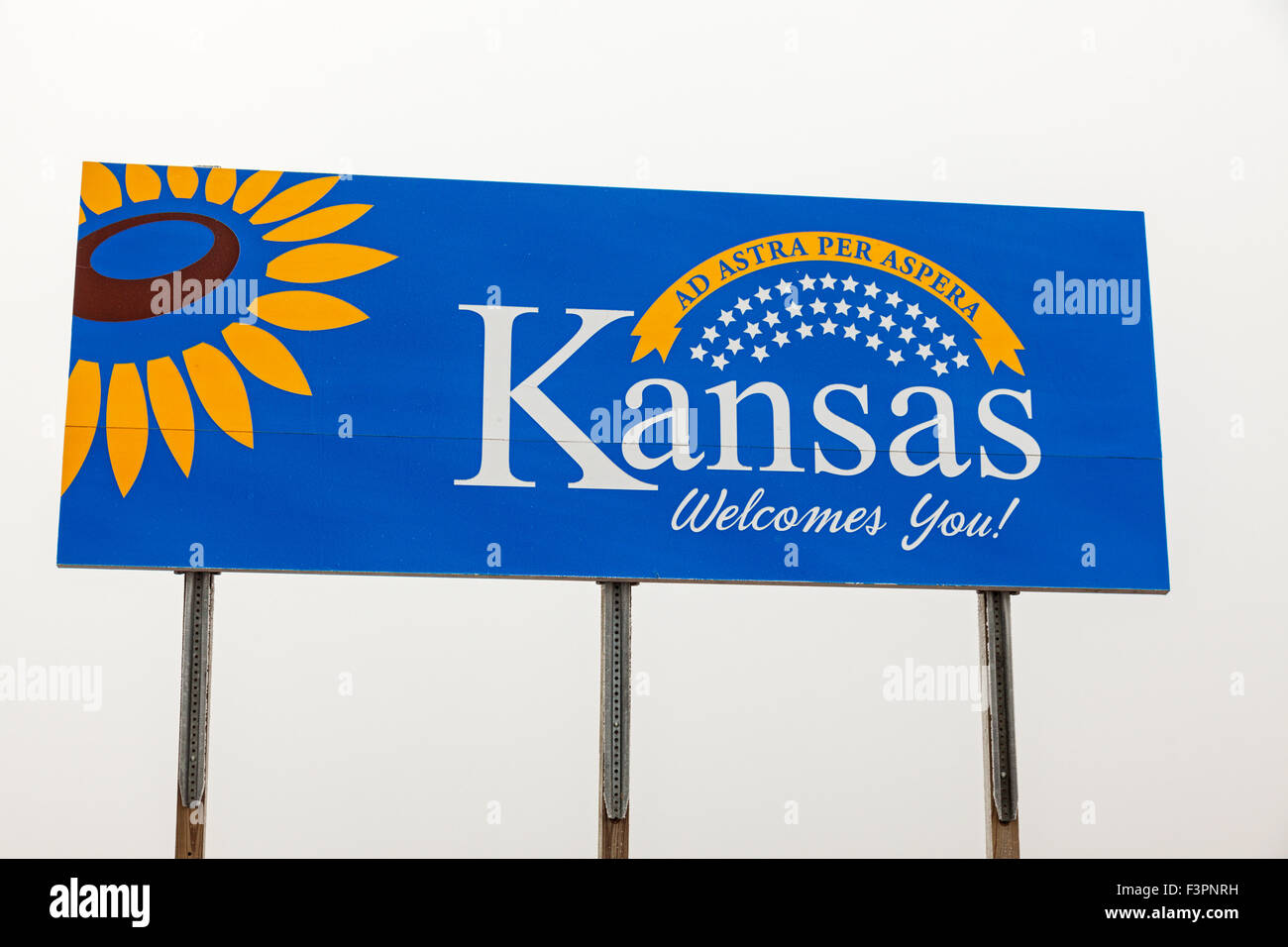 Kanas Welcome Sign - seen during foggy day. - Stock Image