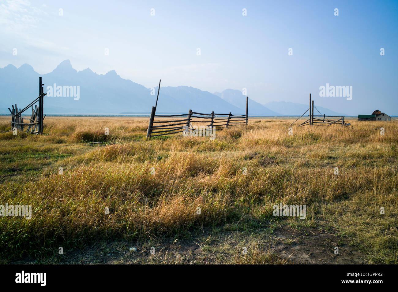 Corrals & fencing; John Moulton Homestead (c 1910); Mormon Row Historic District; Grand Teton National Park; - Stock Image