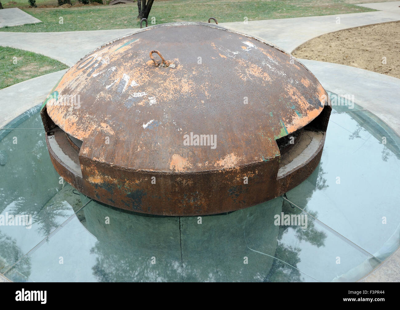 A concrete and steel bunker is  part of the PostBlloku memorial intended to warn of the dangers of power. Tirana - Stock Image