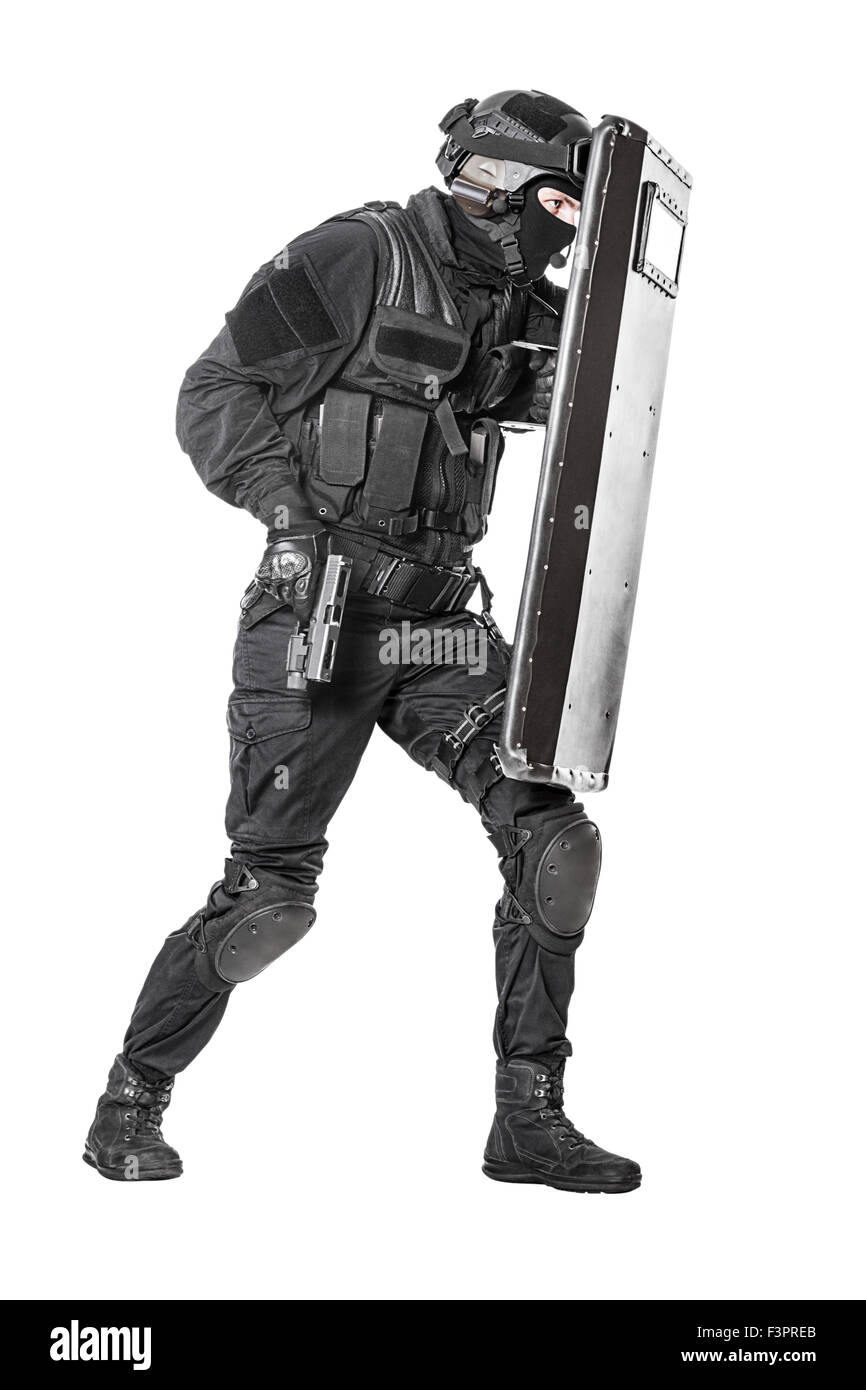 SWAT officer with ballistic shield Stock Photo: 88397187 - Alamy