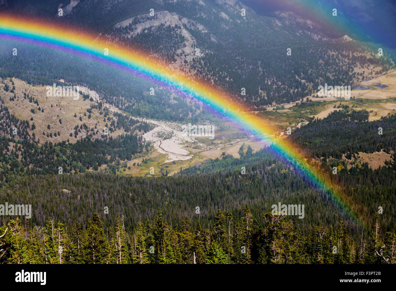 Full; vibrant; rainbow; Rainbow Curve; Rocky Mountain National Park; Colorado; USA Stock Photo