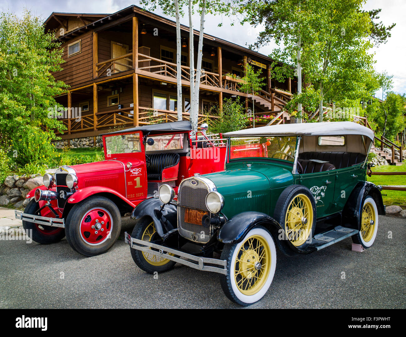 Two vintage antique Ford autos; historic Grand Lake Lodge; near Rocky Mountain National Park; Colorado; USA - Stock Image
