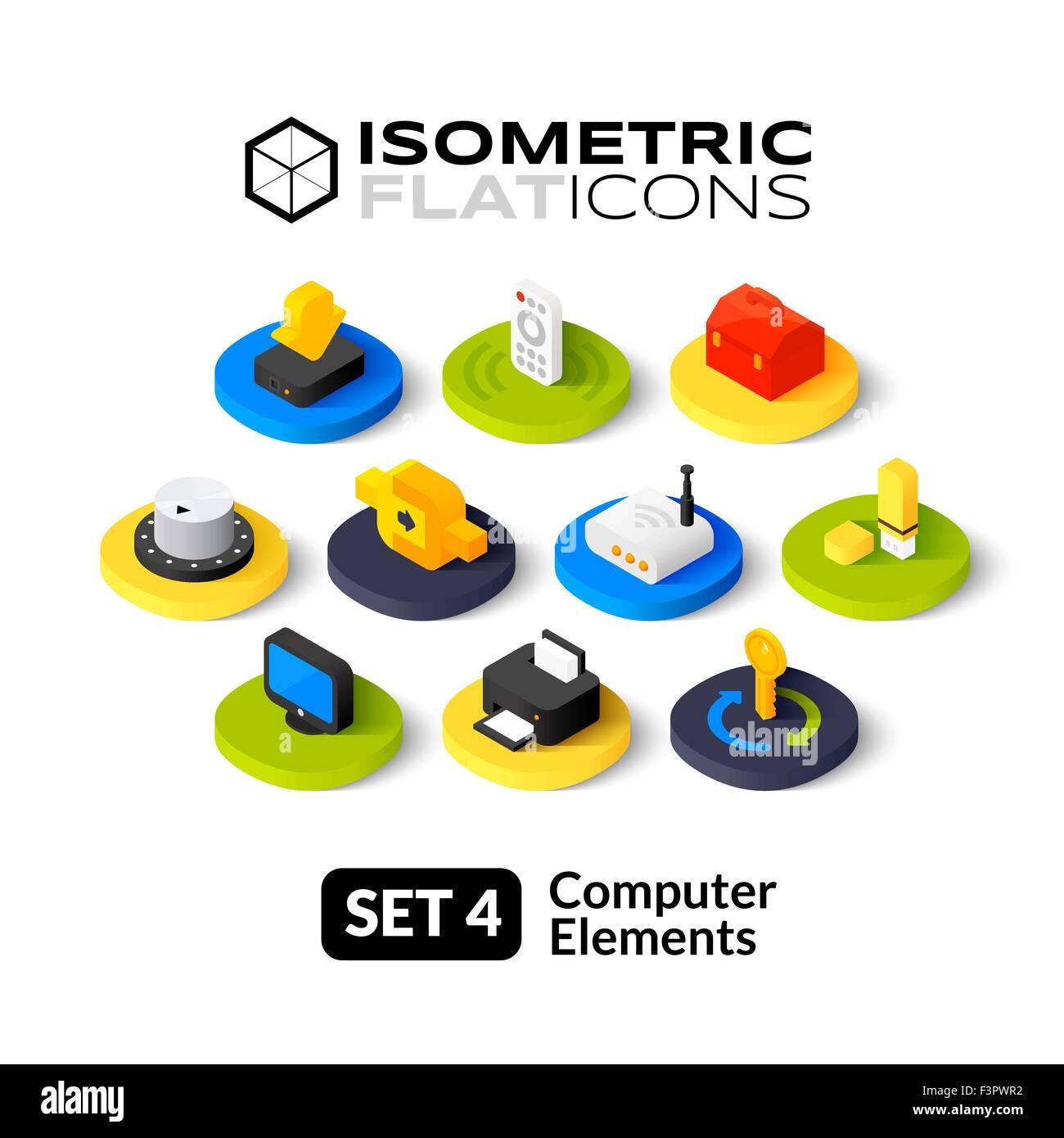 Isometric flat icons set 4 Stock Vector