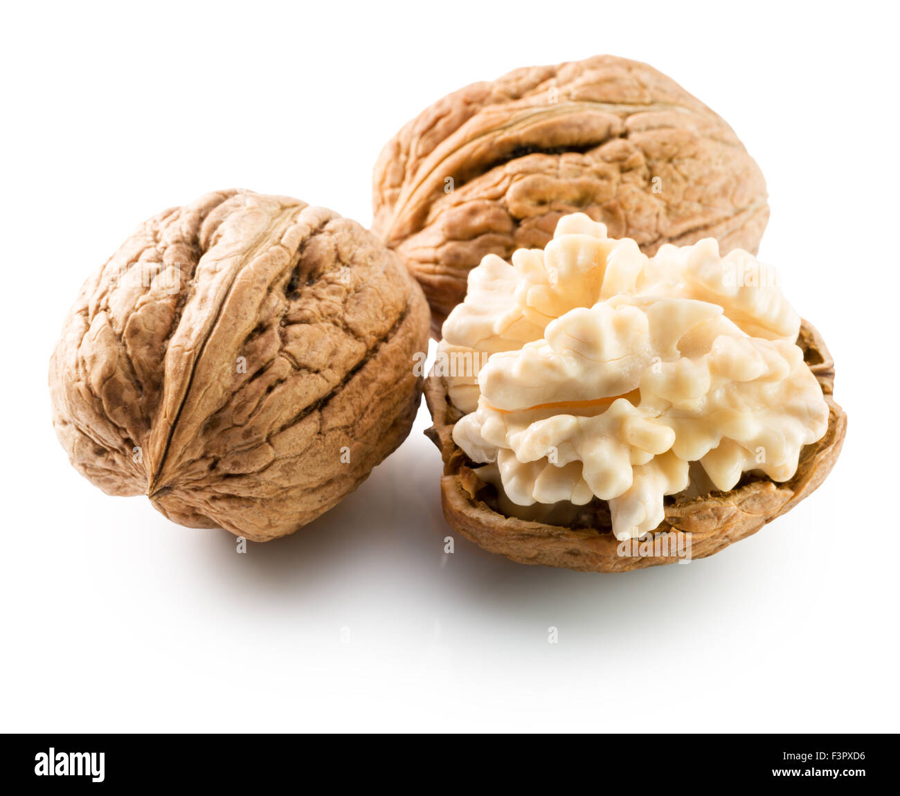 walnuts with nucleus isolated on the white background. - Stock Image