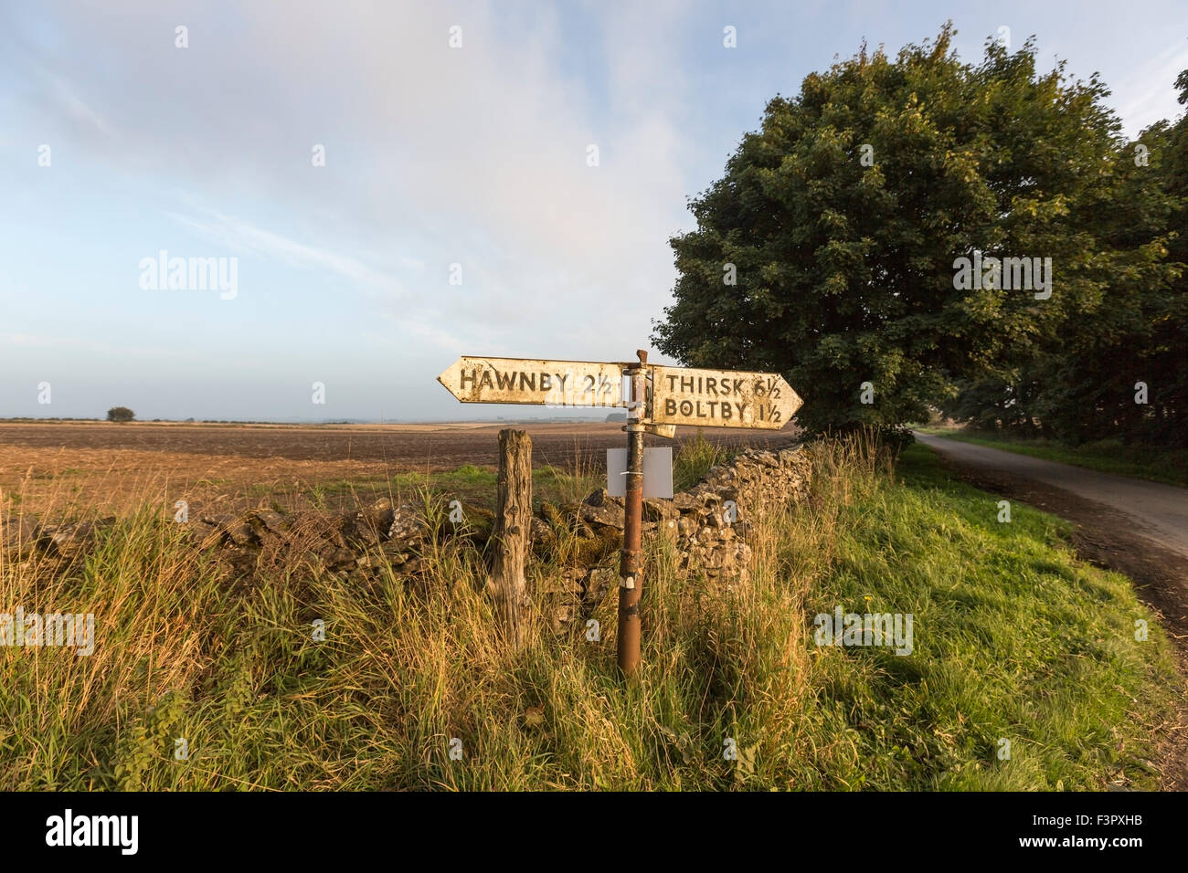 Sign in a rural road in  near Snilesworth, Northallerton, North Yorkshire UK - Stock Image