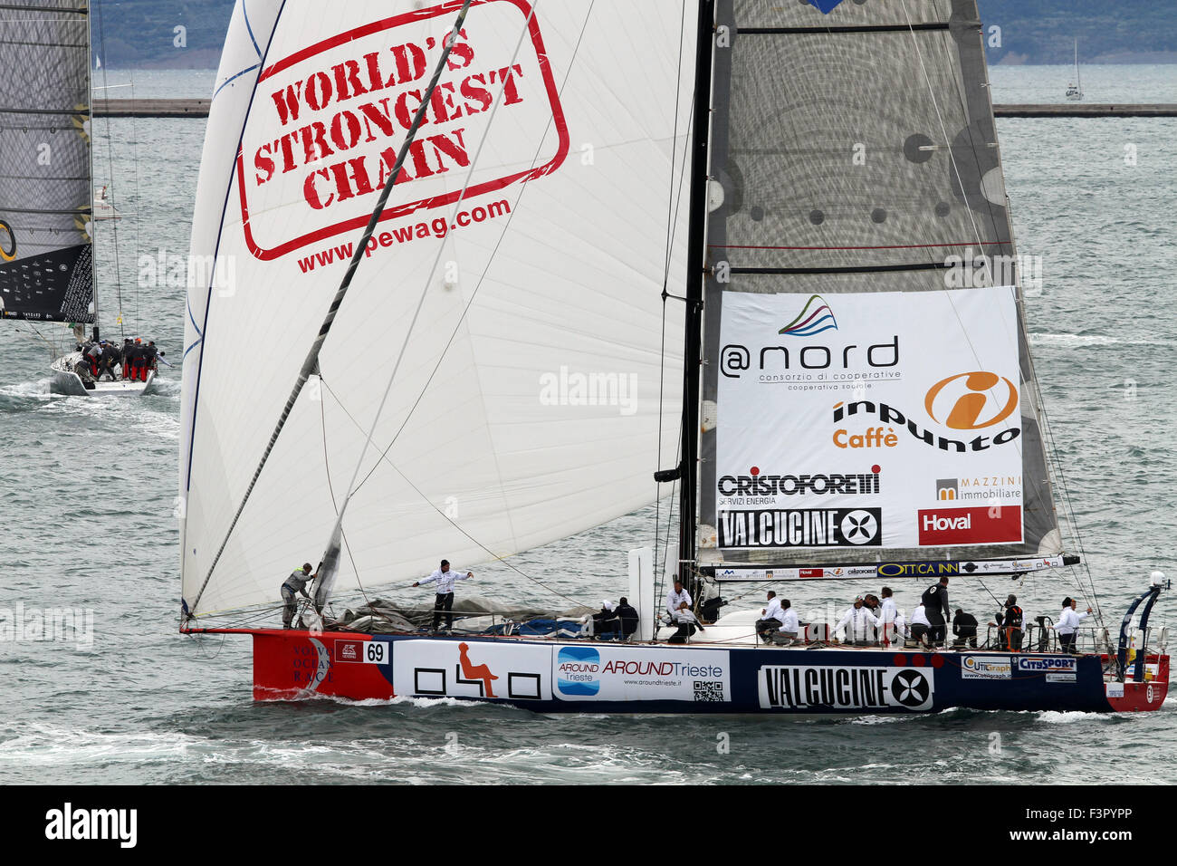 Trieste, Italy. 11th Oct, 2015. Boat sail Tempus Fugit by Marco Furlan during the 47th Barcolana regatta in Trieste's - Stock Image