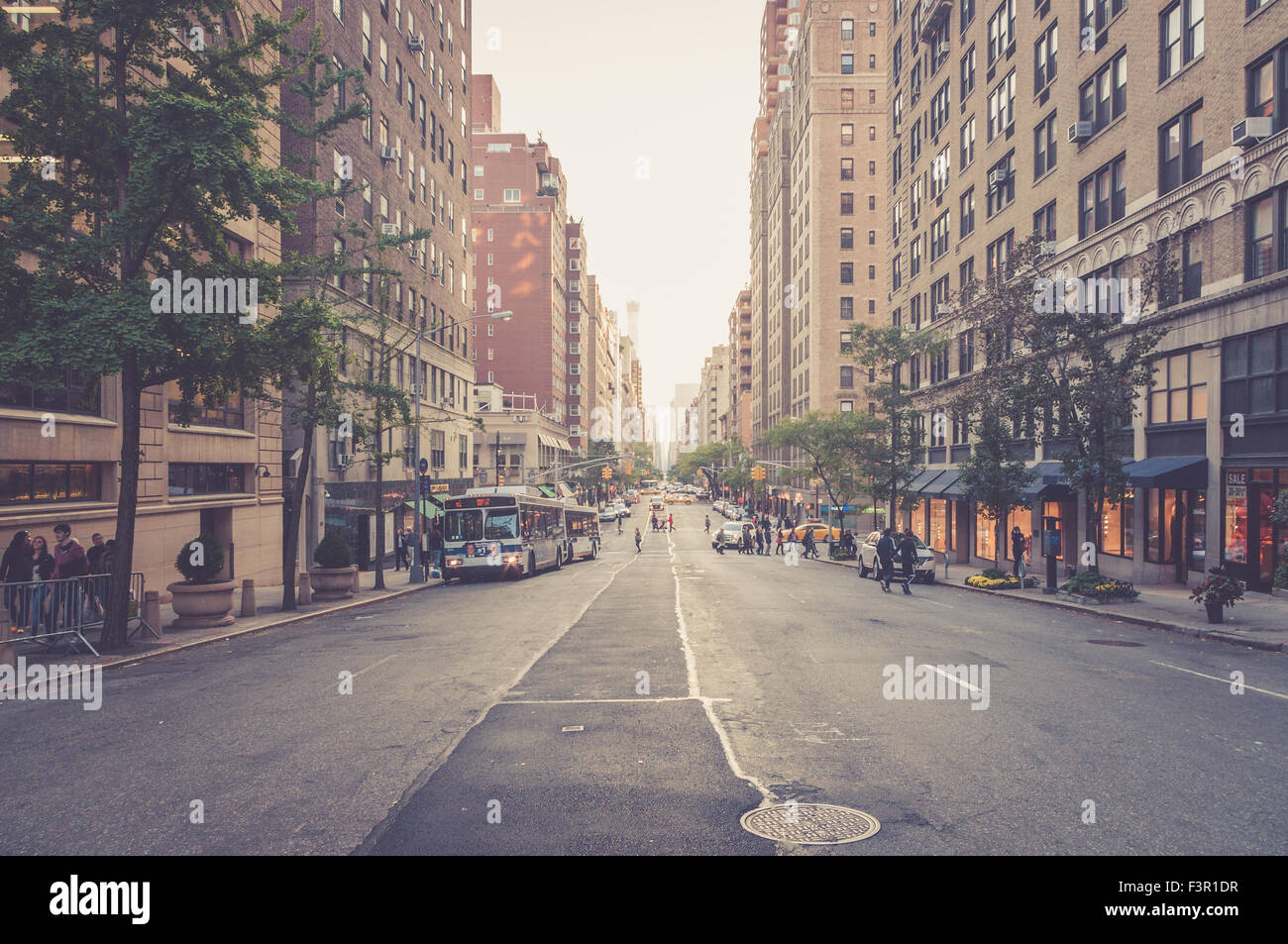 street view of Madison avenue, New York City, USA - Stock Image