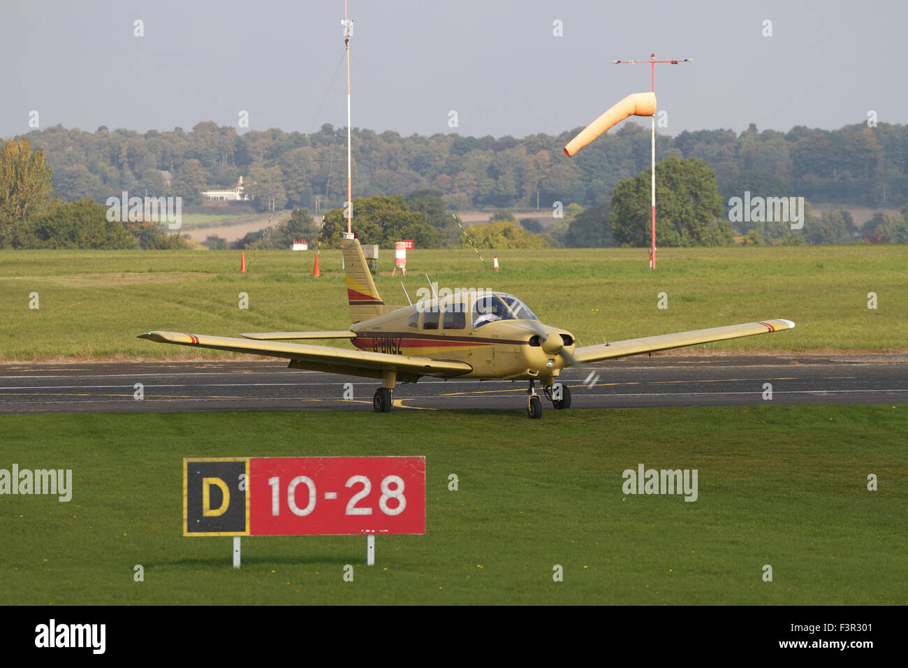 Single engined light aircraft at Wolverhampton Halfpenny Green Airport, UK - Stock Image
