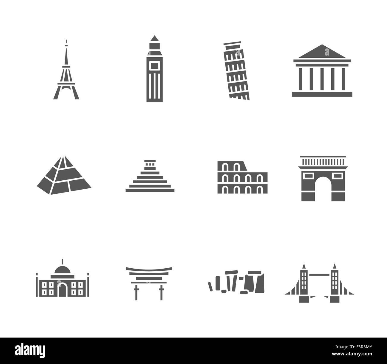 World landmarks silhouette icons set Stock Vector
