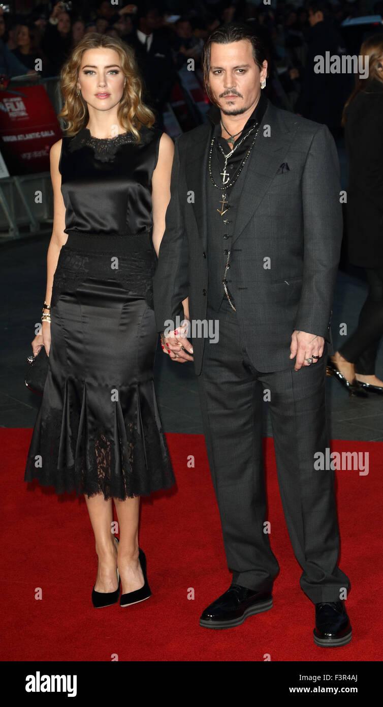 London, UK. 11th Oct, 2015. Johnny Depp and Amber Heard at the BFI London Film Festival - Black Mass - Virgin Atlantic - Stock Image