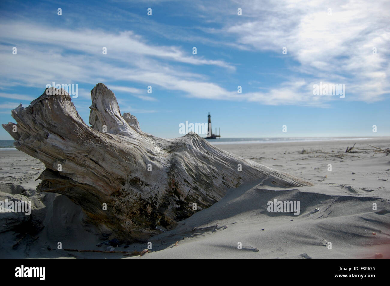 Beach and Lighthouse in Charleston, South Carolina, USA - Stock Image