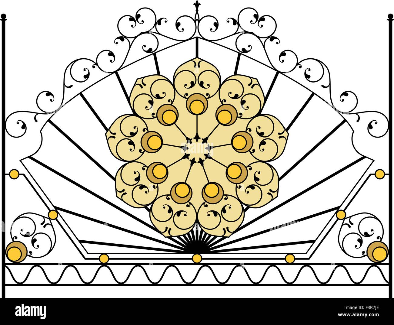 Wrought Iron Gate, Door, Fence, Window, Grill, Railing Design Vector ...