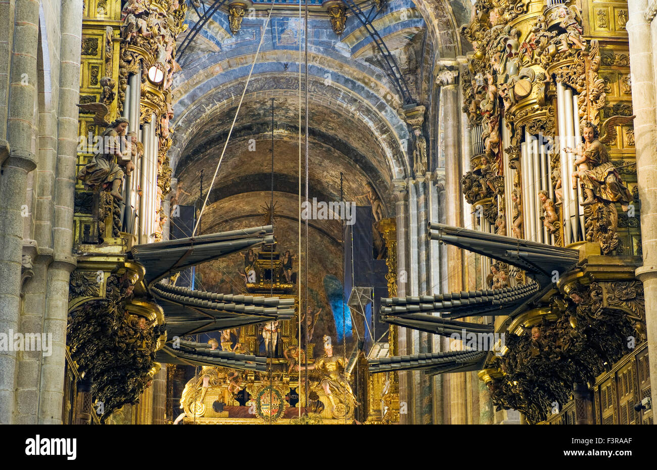 Interior cathedral detail showing organ pipes in the The Cathedral of Santiago de Compostela in Spain - Stock Image