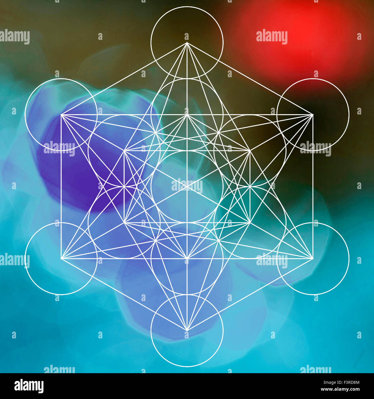 Metatron symbol on the bokeh background - Stock Image