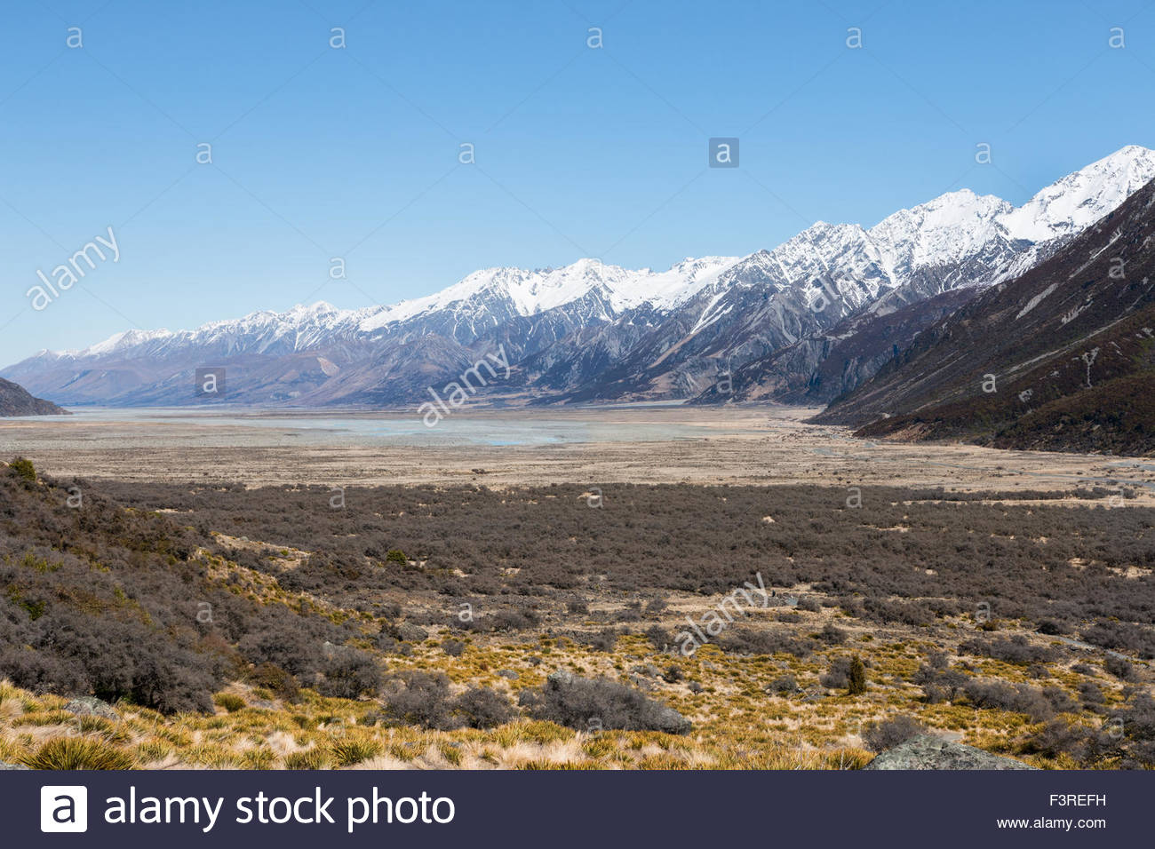Riverbed of Tasman River near foothill of mt. Cook, New Zealand - Stock Image